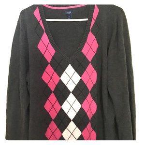 Woman's Izod Argyle Sweater 1x Pink, Gray